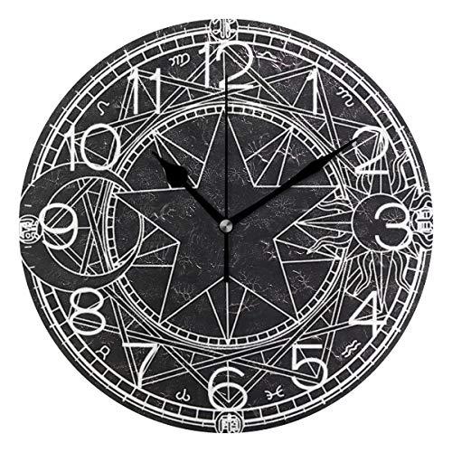 LORONA Gothic Black Pentagram Print Runde Acryl Wanduhr Ölgemälde Home Office Schule Dekorative kreative Uhr mit doppeltem Verwendungszweck Kunst
