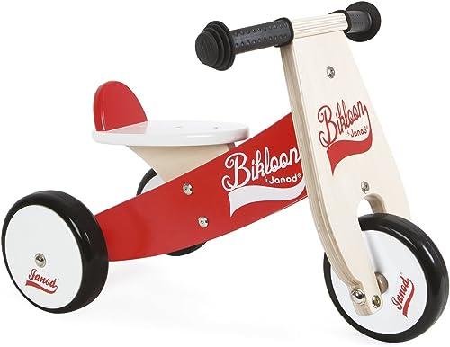 soporte minorista mayorista Janod - - - Bicicleta sin pedales Bikloon, madera, Color rojo   blanco (J03261)  tienda de ventas outlet