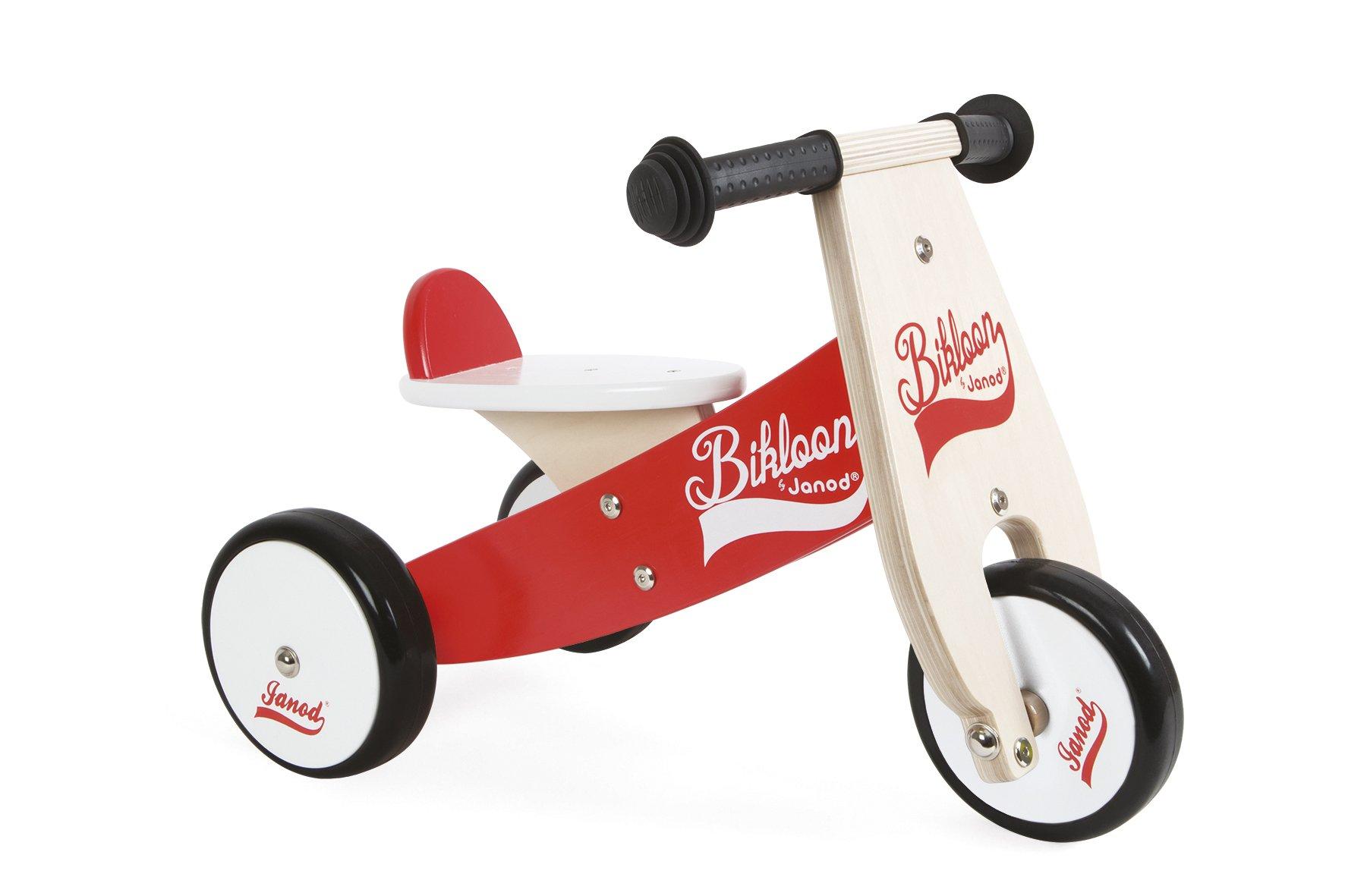 Janod - Bicicleta sin pedales Bikloon, madera, color rojo / blanco (J03261): Amazon.es: Juguetes y juegos
