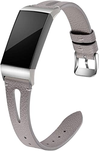 Maledan Bands Compatible for Fitbit Charge 4 and Fitbit Charge 3/Charge 3 SE Fitness Activity Tracker, Slim Genuine L...