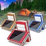 Chargeur de Batterie Externe Boîte de Bricolage Solaire Power Bank Chargeur LED Display 2 Ports USB & 1 Entrées(Android Device) Portable Chargeur Sortie Lampe Solaire de Camping Extérieure (Bleu)