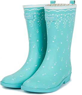 Fashion PVC Anti-skidding Rubber with Floral Feather Print Water Shoes for Womens Girls Waterproof Rain Boots, Men's Boots (Color : Green, Size : 36(230mm))