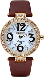 Time100 Fashion Ladies' Diamond Art Number Coffee Leather Strap Quartz Watch#W50045L.01A