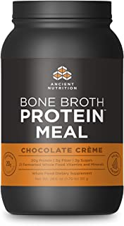 Ancient Nutrition Bone Broth Protein MEAL, Chocolate Crème Flavor, 20 Servings Size - All Natural Meal Replacement Shake with 21 Whole Food Vitamins and Minerals