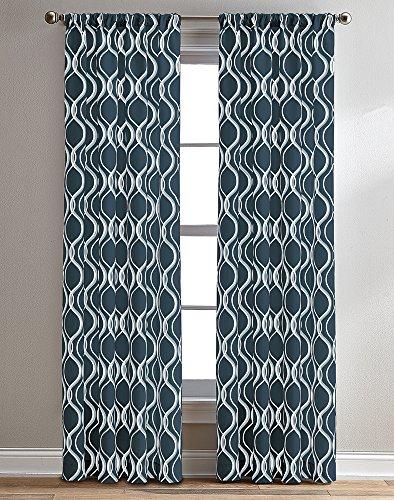 "CHF Morocco Ogee Geometric Semi-Sheer Rod Pocket Single Curtain Panel, 84"", Navy"
