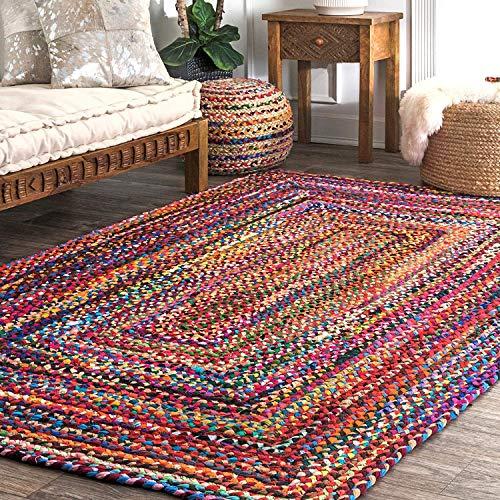 Alfombra de algodón Multicolor - 183x123 cm Alfombras de Piso rectangulares Grandes Coloridas Hechas a Mano de para decoración de Sala de Estar y Dormitorio