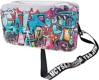 Wultia - Bags for Women Fashion Ladies Leather Personality Graffiti Zipper Shoulder Bag Messenger Bag Party Bags Bolsa feminin *0.92 White