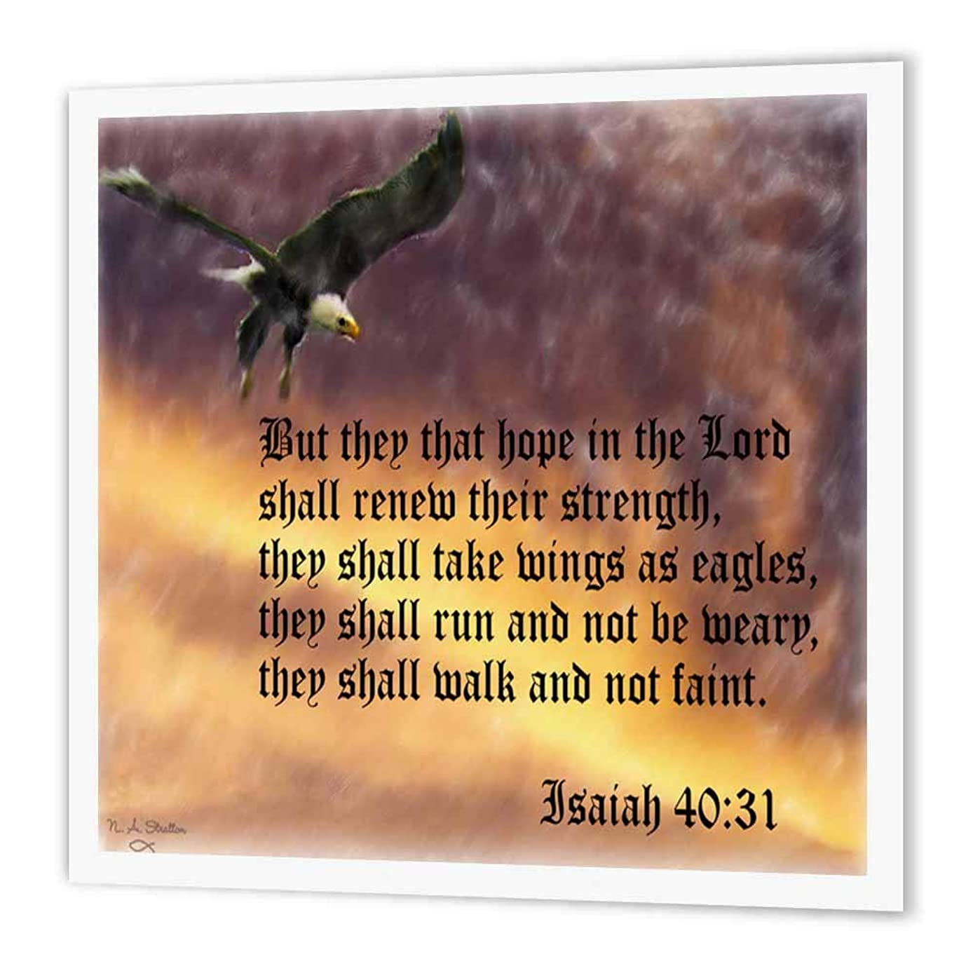 3dRose ht_27419_3 Isaiah 40-31 Bible Verse with Eagle Against a Troubled Sky-Iron on Heat Transfer Paper for White Material, 10 by 10-Inch