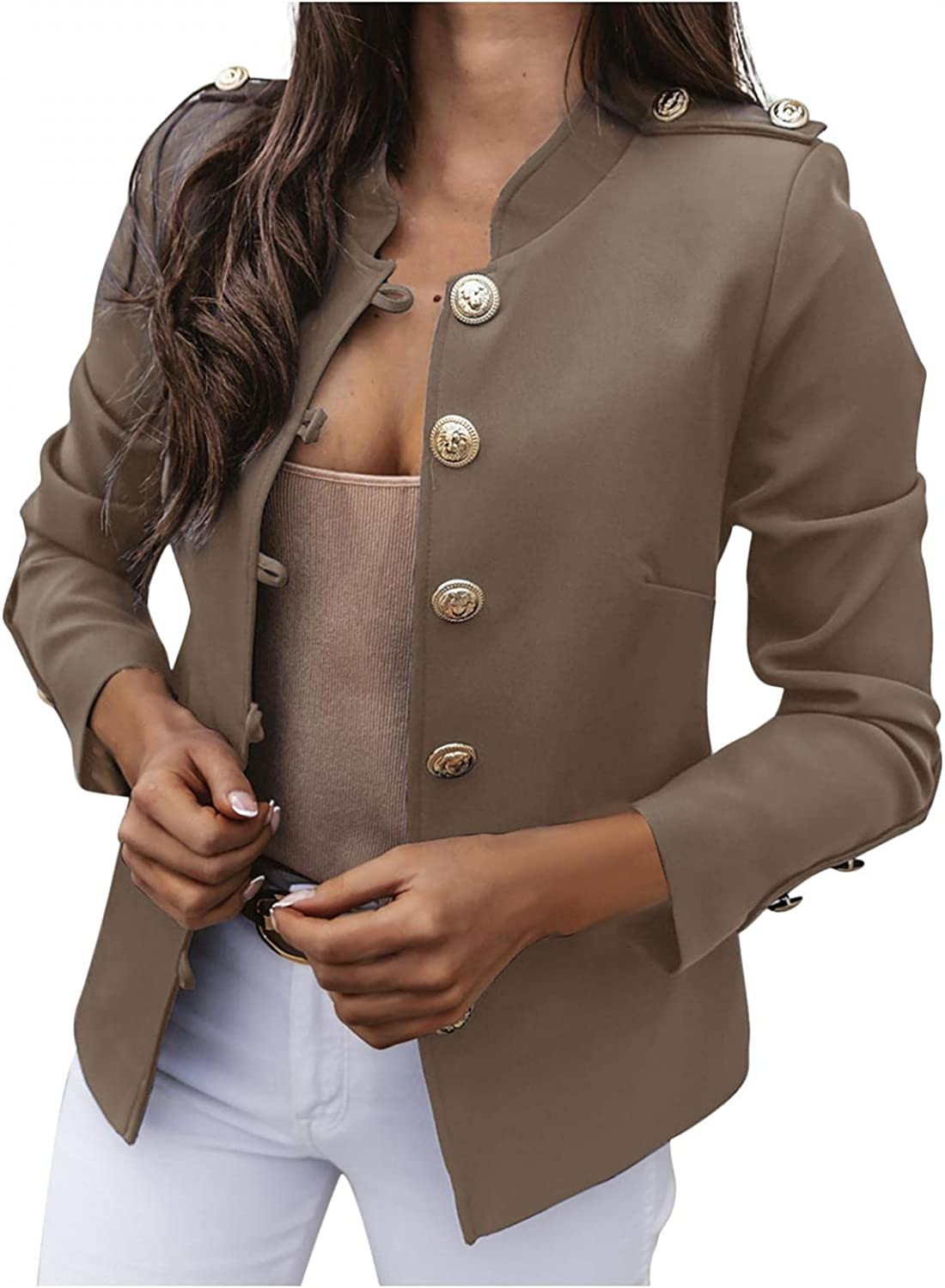 Jackets for Women Button Down Solid Color Cardigan Slim-Breasted Suit Short Coat Stand Collar Long-Sleeve Top