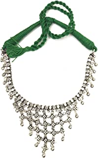 Green Thread Oxidised Silver Necklace Princess Choker for Women Fashion Jewelry Silver Finish Ghungroo Beads Embellishment Jewellery