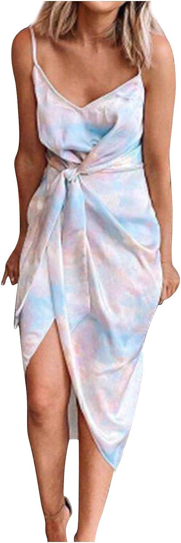 Women's Indefinitely All items free shipping Tie-dye Spaghetti Strap Dress V-Neck Up Asym Lace Summer
