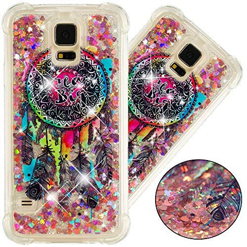 EMAXELER Galaxy S5 Case S5 Cover 3D Creative Design Cartoon Pattern Anti-Fall Flowing Quicksand Floating Bling Shiny Liquid TPU Soft Case for Samsung Galaxy S5 TPU Color Dream Catcher