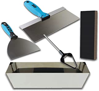 OX Pro Drywall Finishing Tool Set with Stainless Steel Mud Pan, Taping/Joint Knife Combo, XL Sanding Sponge and Mud Mixer