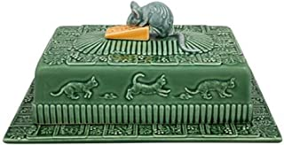 Bordallo Pinheiro 65007089 Cheese Tray Mouse with Lid Pattern, Green/Natural