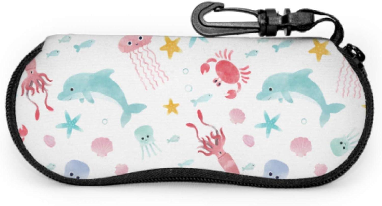 Starfish And Crabs In The Ocean Sports Sunglass Case Men S Eyeglass Case Light Portable Neoprene Zipper Soft Case Sunglass Case For Men