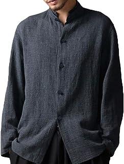 Manica Lunga Camicia per Uomo - Moda Tinta Unita Collo Coreano Camicie Uomo Bottoni Casual Camicia Primavera Autunno Shirt...
