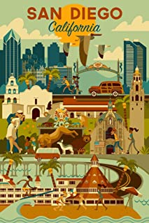 San Diego, California - Geometric (12x18 Art Print, Wall Decor Travel Poster)