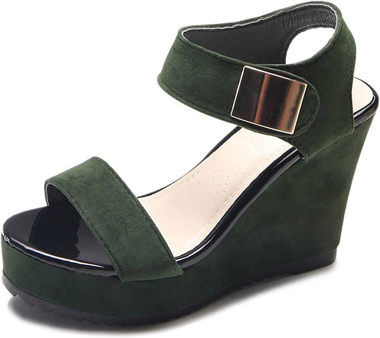 Wedge Platform Sandals Women Leather Ladies shoes Wedge Sandals High Heels Suede Sandals