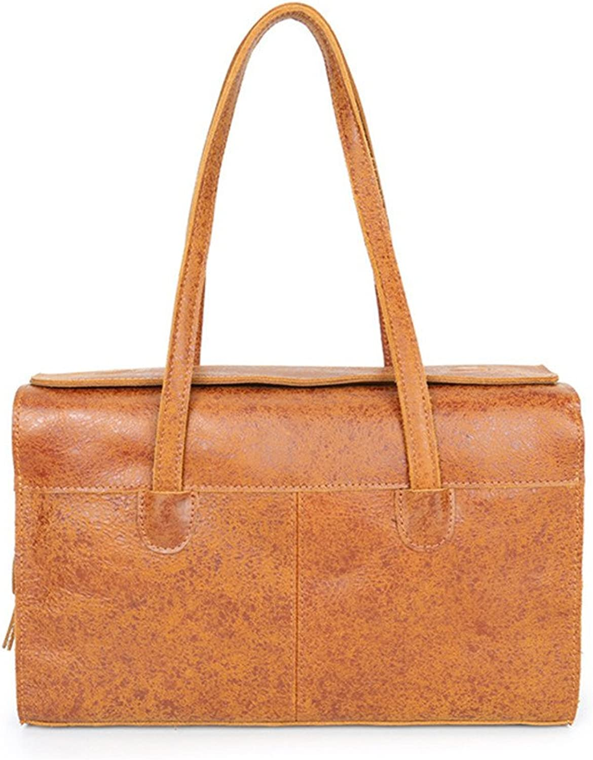 Sturdy New Retro Rectangle Handbag Leather First Layer Leather Ladies Shoulder Handbag Personality Flash Men and Women Leather Handbag Simple Wild Wind Large Capacity (color   Brown)