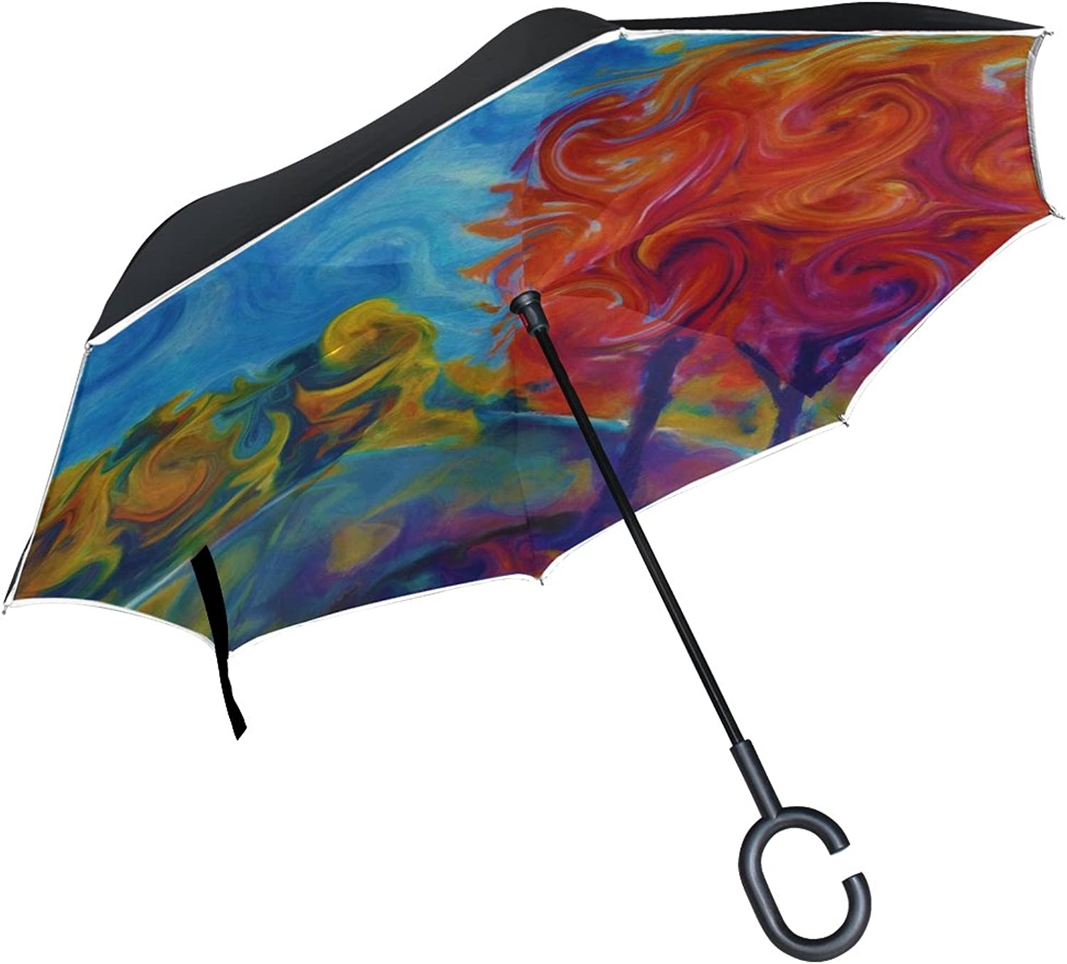 Double Layer Ingreened Abstract Landscape Nature Beauty Brush Art Umbrellas Reverse Folding Umbrella Windproof Uv Predection Big Straight Umbrella for Car Rain Outdoor with CShaped Handle