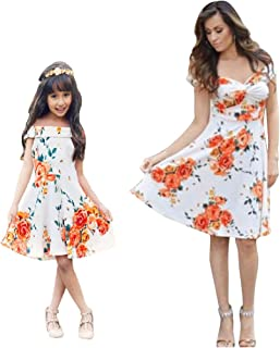 Mommy and Me Matching 3//4 Sleeve Floral/Leaves Print Swing Mini Dress Princess Sundress Parent-Child Family Outfits