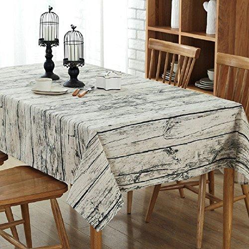 Nappe rétro Nappe carrée coton et lin Vintage Nappe Rectangulaire à motif en bois naturel (140*220)