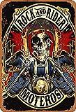No/Brand Rock and Rider Moteros Cartel de Chapa Retro Metal Pintado Arte Cartel Decoración Placa de Advertencia Bar Garaje Jardín Jardín Regalo