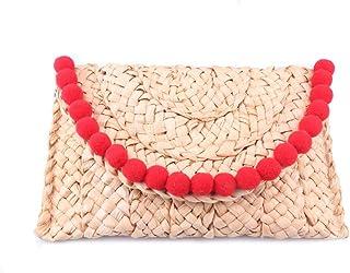 Straw Clutch Handbag, Women Straw Purse Envelope Bag Wallet Summer Beach Bag