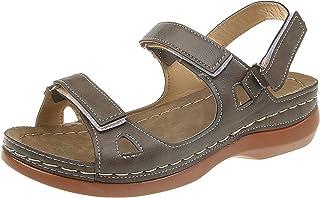 UULIKE Femmes Sandales Plates,été Bout Ouvert Solide Faux Cuir orthopédique Femmes Chaussures Plate-Forme décontractée Rom...