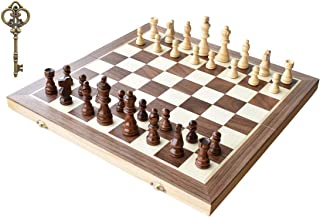 """HOWADE Wooden Chess 15"""" X 15"""" inch Magnetic Foldable Wooden Chess Board Game with Chessmen Storage Slots Unique Crafted Ha..."""
