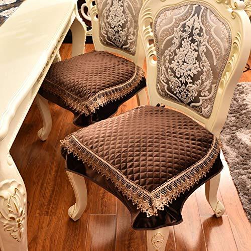 XYSQWZ European Simple Dining Chair Kissen, Four Seasons Stoff Stuhlkissen Autositzbezüge-Braun 52x50cm (20x20inch)