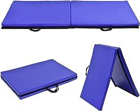 Giantex 2'x6' Folding Gymnastics Gym Exercise Aerobics Mat, Thick Two Fold with Hook & Loop Fasteners, for Gymnastics, Aerobics, Yoga, Martial Arts