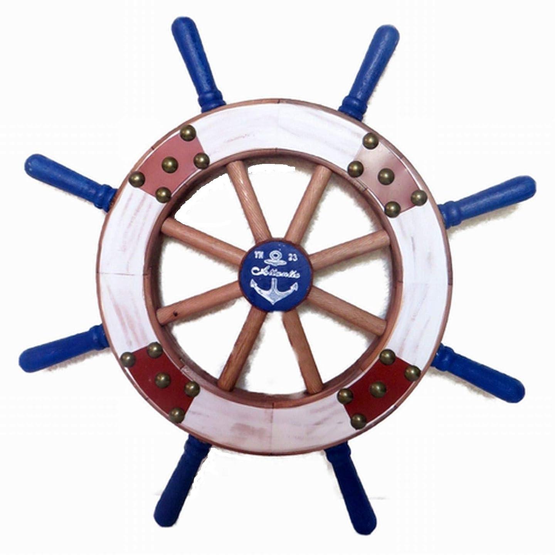 きらきらはずマティスレトロ 木製ラット(舵輪) 壁掛け  マリン 舵 壁掛け  ヴィンテージ風舵 壁面の装飾品 アメリカ (青, S) [並行輸入品]