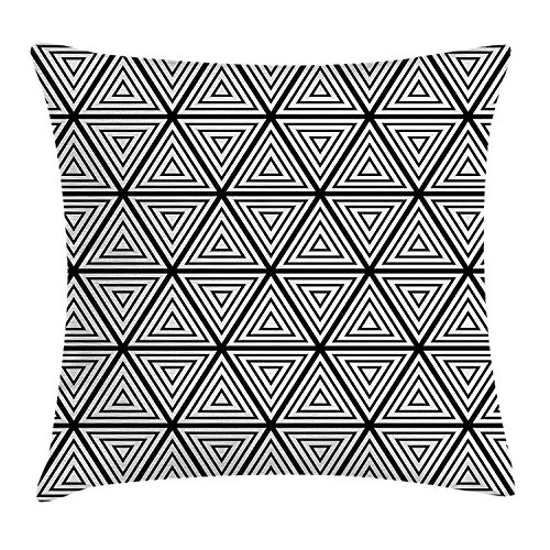 JIMSTRES Abstract Throw Pillow Cushion Cover, Geometric Inner Triangles Minimalist Western Expressionism Style Boho Display, Decorative Square Accent Pillow Case, Black White 22x22 inches