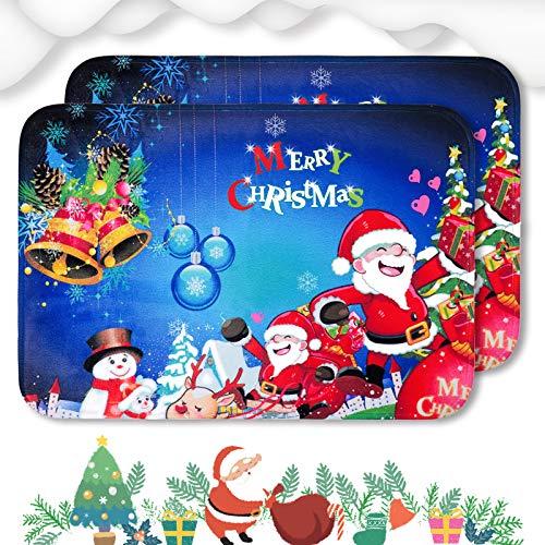 2 PCS Christmas Doormat Printed Merry Christmas Soft Floor Mat Non-Slip Bath Rugs Christmas Indoor Outdoor Door Mat for Home Decoration, Size 15.7x23.7 Inch