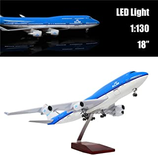 """24-Hours 18"""" 1:130 1 Scale Airplane Model Holland 747 with LED Light(Touch or Sound Control) for Home Decoration or Gift"""
