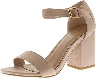 07775cbb Viva Mujer Ancho Medio Bloquear el Talón Ante Correa de Tobillo Casual  Zapato Sandalias