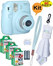 Fujifilm Instax Mini 9 Instant Film Camera + 20 Sheets of Instant Film + Lens Cleaning Cloth + Close-Up Selfie Lens + Wrist Strap | Batteries Included - ICE-Blue