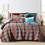 Colcha acolchada Boho de 3 piezas, reversible, rojo, elegante, edredón, manta, juego de cama con fundas de almohada, 230x250cm