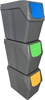 Prosperplast ZA909 Lot de 3 bacs de Recyclage capacité Totale 60 litres, empilables, Gris, 3x20 Litros