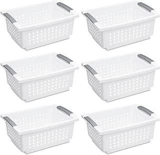 Sterilite 16628006 Medium Stacking Basket, White Basket w/ Titanium Accents, 6-Pack