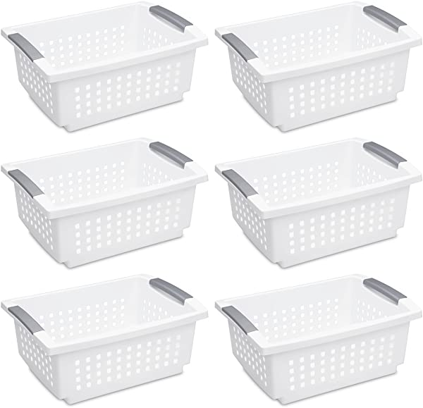 Sterilite 16628006 Medium Stacking Basket White Basket W Titanium Accents 6 Pack