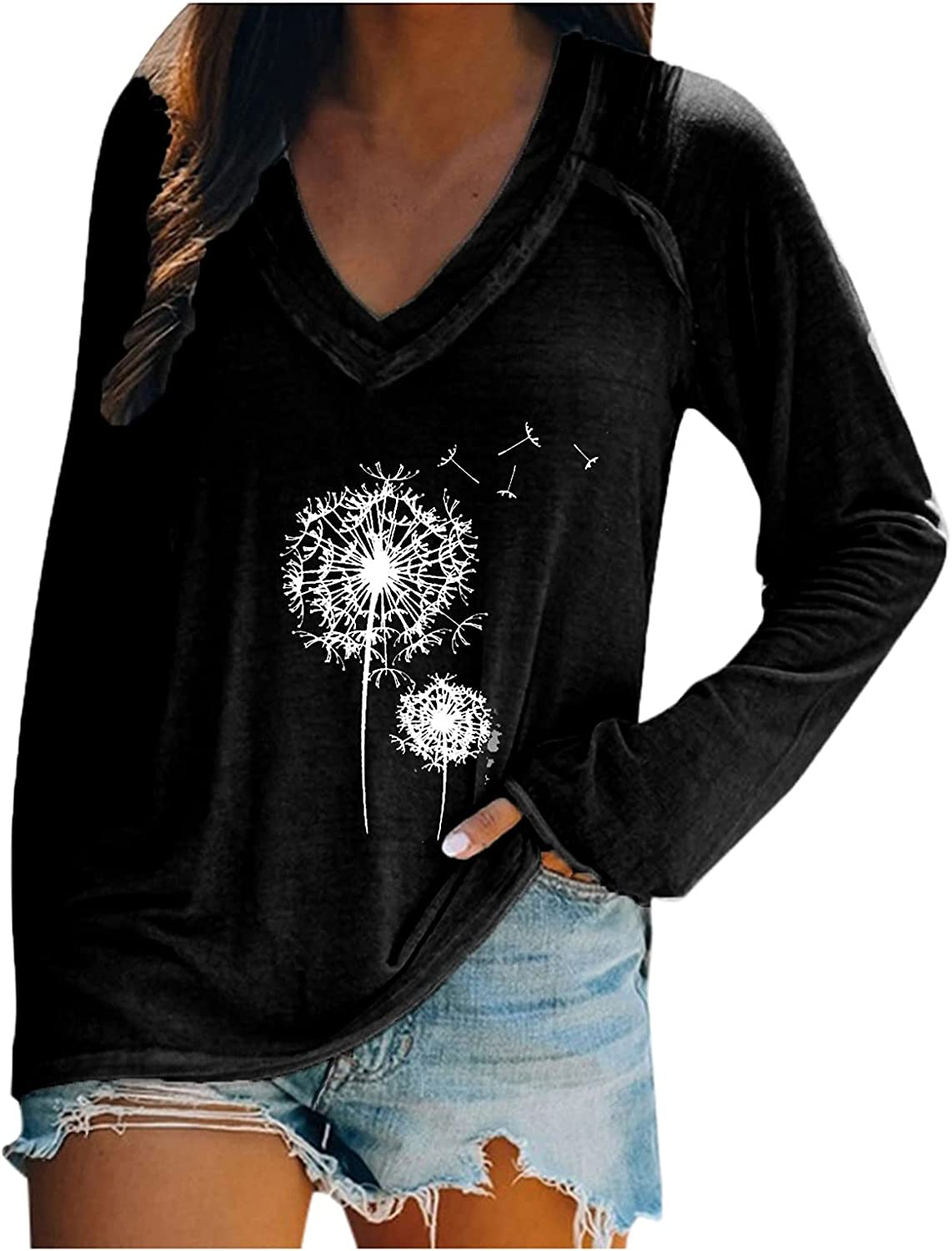 Dandelion Long Sleeve Shirts for Women Autumn Casual Heart Cows Graphic Tee V Neck Fashion Tops Blouses T Shirt