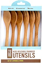 To Go Ware Kids Reusable Bamboo Utensils, Set of 3 Spoons & 3 Forks