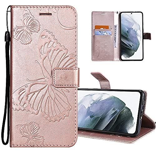 COTDINFORCA Hülle für Xiaomi Redmi 8A Hülle PU Leder Schutzhülle Magnet Handytasche Bookstyle Kartenfächer Lederhülle Flip Handyhüllen für Redmi 8A Big Butterfly Rose Gold KT