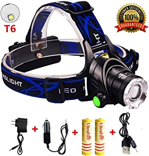 Best Headlamps 2200 Lumens, Super Bright Headlight Flashlights,Adjustable Waterproof Hard Hat Light with 2 Rechargeable Batteries, USB Cable, Wall Charger and Car Charger for Camping Outdoor Sports