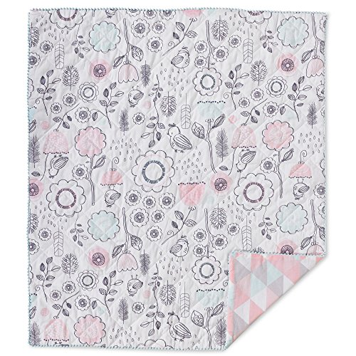 Lolli Living Baby Crib Bedding Quilted Comforter Sparrow Print Premium 100% Cotton Fabric for Best Comfort | for Infant,Toddler,Newborn,Nursery,Boy,Girl,Unisex,Quilt,Mattress,Gift | White