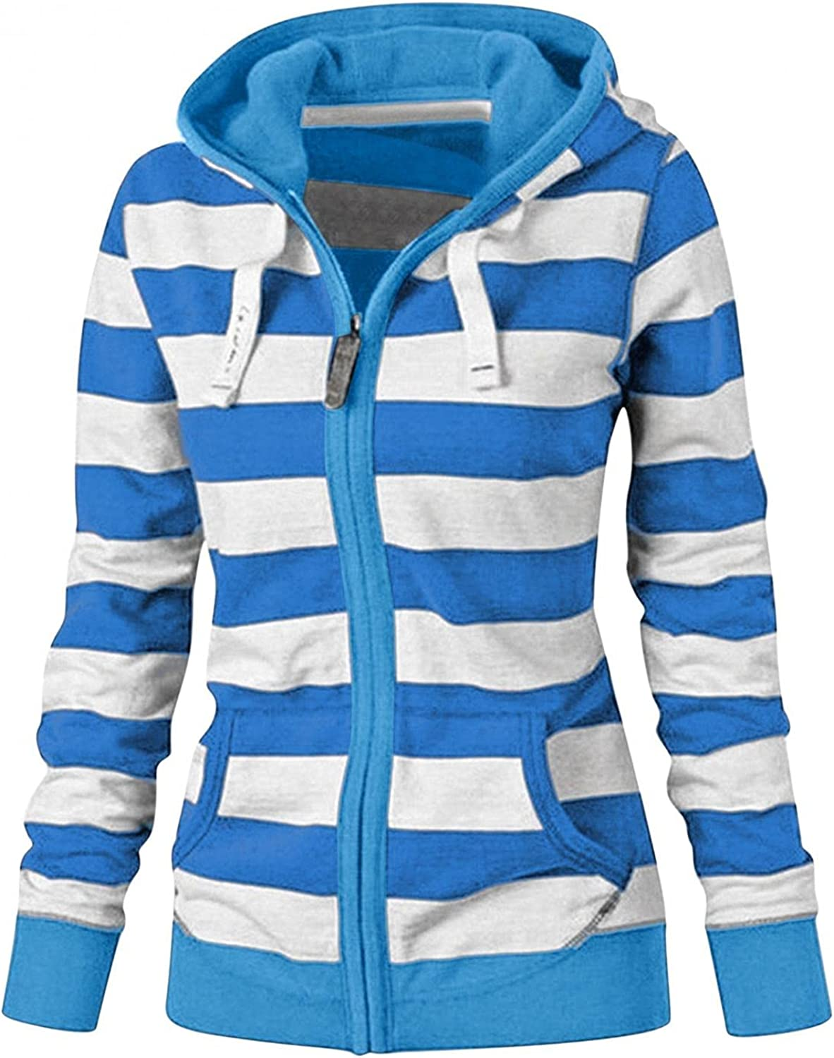 FABIURT Hoodies for Women, Womens Zip Up Hoodie Long Sleeve Striped Lightweight Pullover Tops Casual Blouses with Pockets