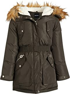DKNY Girls' Winter Coat - Heavyweight Anorak Parka Jacket with Removable Faux-Fur Lined Hood