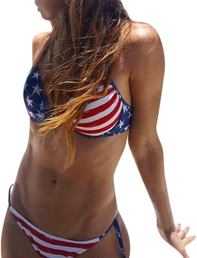 Kcocoo Independence Day Sexy Bikini Swimsuit for Women High Cut Crop Top Bathing Suits for Women Bikini Two Piece Swimwear